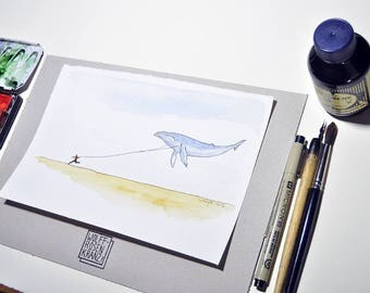 The limits of physics or runners with whale, illustration, feather drawing, watercolor, original of Wolff Rosary,