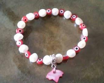 Evil Eye Pearl Bracelet