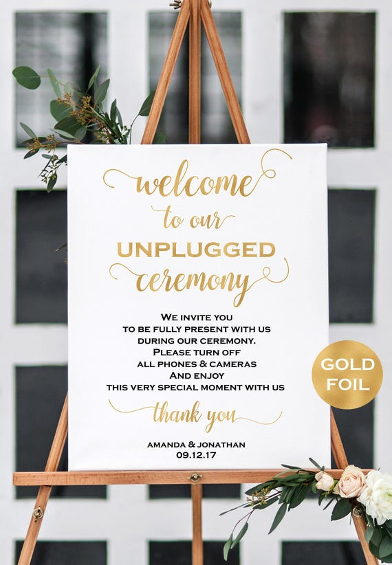 Welcome to our unplugged wedding sign template