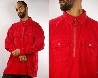 90s corduroy shirt / 90s Cord Shirt / Corduroy Shirt / Corduroy Shirt Red / Vintage Corduroy Shirt / 90s Shirt Red / Corduroy Button up