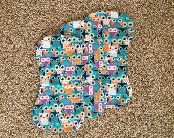 3 Burp Cloths! Owls, Turqoise, Purple, Orange, Blue, Nature, Burp Rags, Burp Cloths, Baby, Girl, Boy, Neutral