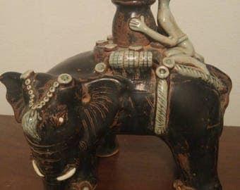 Rare Tang Dynasty Sancai Glazed Elephant and Servant Rider