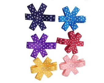 Set of 6 girl Ribbon hair clip pea