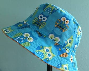 Blue Owls with Orange and White Polka Dots Bucket Style Sun Hat for Babies and Kids!