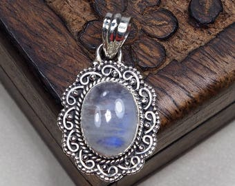 """Natural Rainbow Moonstone Boho Style 925 Sterling Silver Pendant Necklace Gift for Girlfriend wife Party 1.4"""" D1024"""