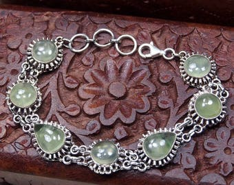 "Green Prehnite Bracelet, 925 Sterling Silver,Genuine Natural Prehnite Jewelry,Gift for her,Fine jewelry Party Birthday Gift 8"" S1213"