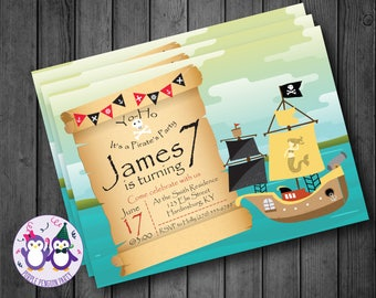 Pirate Ship Birthday Party Invitation, Planets, Spaceships, Stars
