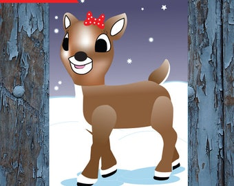 Clarice, Pin the bow on Clarice - Pin the nose on  Rudolph -  Clarice thereindeer -  Christmas games - holiday games- kids Christmas games -