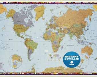 Digital Modern World Map Hight Printable Download Large World Map Digital Printable Map