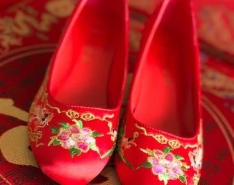 Chinese wedding red bridal shoes, Low heel, Embroidery