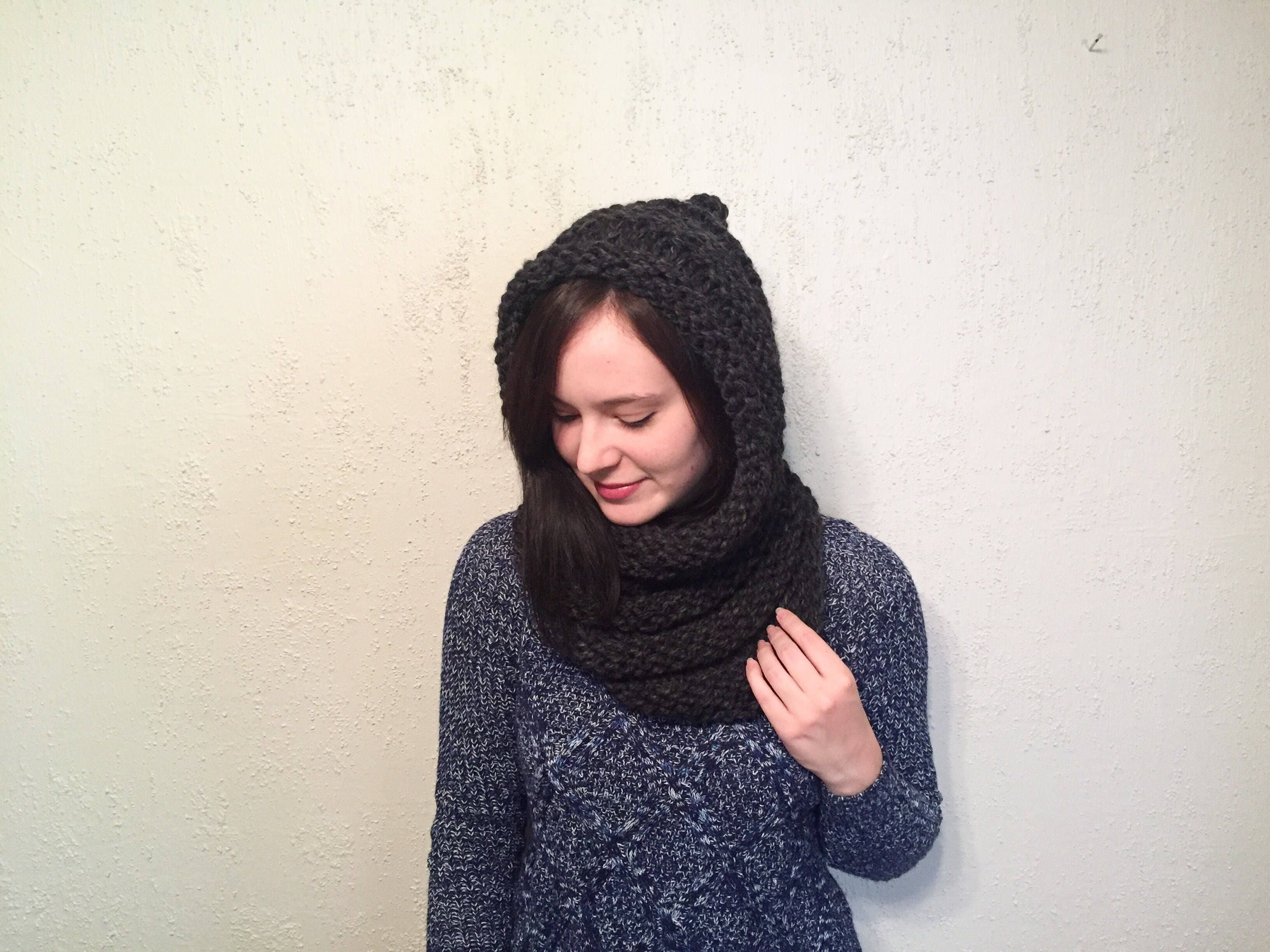Women\'s Hooded Infinity Scarf // Chunky Knit Hooded Wrap Scarf ...