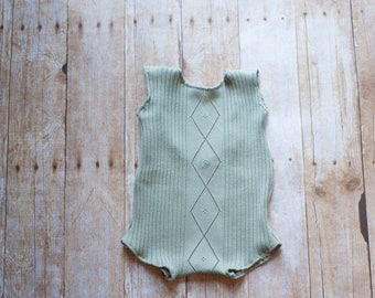 OOAK Ready To ship, Sitter Photography Prop, Romper, Upcycled SAGE green girl sitter romper