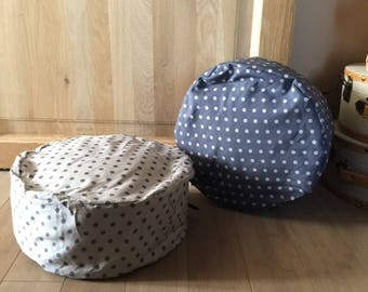 Round cushion with polka dots, decoration, home, gift
