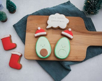 Avocado Lover-Avocado Christmas Biscuit Gift Set-Avo Cookie Gift Box-Best Foodie Gifts - Avo-Merry Christmas Biscuits - Pun Biscuits