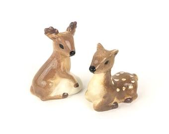 Deer Salt and Pepper Shakers Painted Ceramic