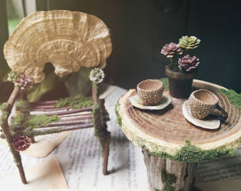 Faery Table and Chairs Set - fairy furniture handmade by thefaeryforest