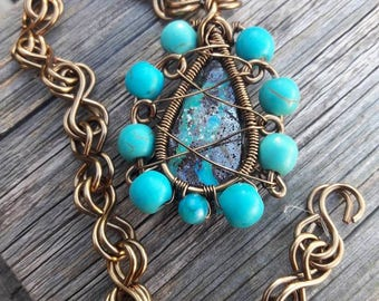 Turquoise and Opal Pendant Necklace