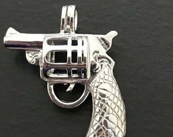 Sterling silver gun pendant with pearl