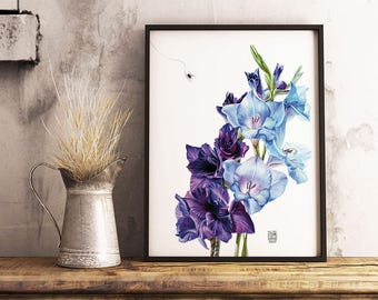 Blue Gladiolus, Botanical Print, Wall Art, Purple Flower, Room Decor, Gladiola Watercolor, Printable Wall Art, Garden Flowers Decoration