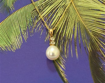 White Pearl Pendant, 14KT Yellow Gold White Round Pearl Pendant W. 2-Diamonds, P5080,  Made in Hawaii