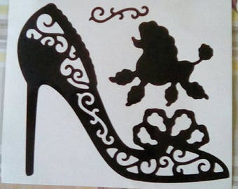 Vinyl Decal Laced Heel and Poodle Dog