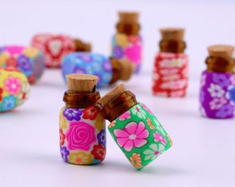 10pcs Cute Mini Glass Polymer Clay Bottles Containers Vials With Corks