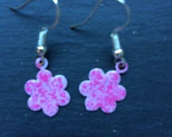 Enamelled flower earrings on silver hooks.