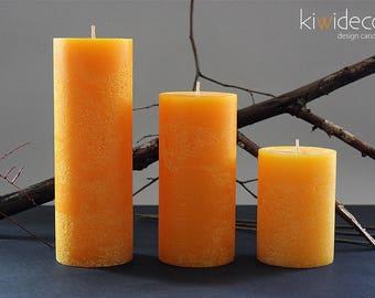 "Yellow Big Rustic Pillar Candle Set 120 x 85 mm (4.7 x 3.3""), 180 x 85 mm (7.1 x 3.3"")  240 x 85 mm (9.5 x 3.3"")"