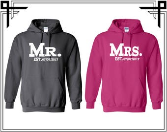 Mr. Mrs. Couple Hoodie Sweatshirt Customize Your Date Couple Sweatshirt Mr Mrs Couple Hoodie Sweatshirt Couple Sweater Gift For Couples