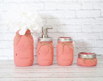 Mason Jar Bathroom Set- Painted Mason Jar Decor-Rustic Bathroom Decor-Painted Mason Jars-Mason Jar Soap Dispenser-Housewarming gift-Rustic