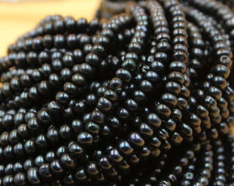 Freshwater Pearls Potato pearl Natural Black loose pearl 4 - 5 mm 90Pc Full Strand