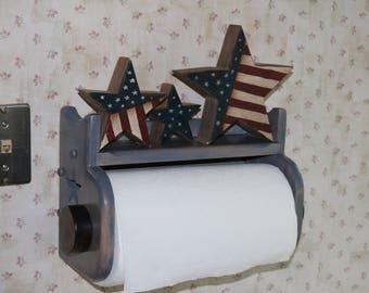 Handmade wooden wallmounted kitchen paper towel holder with shelf.