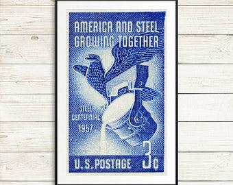 Large poster art, American steel, US steel industry, US steel poster, 1950s posters, 1950s art, vintage wall art, propaganda posters, blue