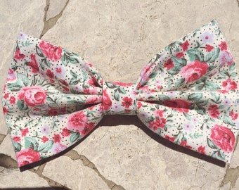 Pink, green and lavender floral hair bow