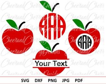 Apple SVG Apple Monogram svg School Monogram svg Apple Monogram frame svg Apple split monogram Apple Cut File Apple Cricut Apple Silhouette