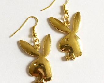 Gold Playboy Bunny Earrings