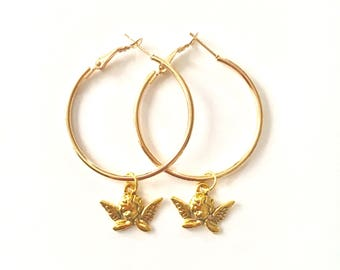 40mm Gold Angel Hoops