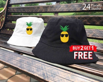 Pineapple with Sunglaesses Embroidered Bucket Hat by 24PlanetsStudio