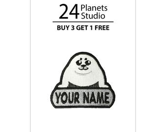 "Mini Harp Seal Pup ""Your Name"" Iron on Patch by 24PlanetsStudio"