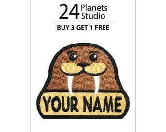"""Walrus """"Your Name"""" Iron on Patch by 24PlanetsStudio Your Text Custom Made DIY"""