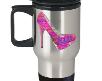 Stiletto Heel Wields Power & Strength for Strong Woman!! Female Power Word Cloud Graces Insulated Stainless Steel Travel Coffee Mug With Lid