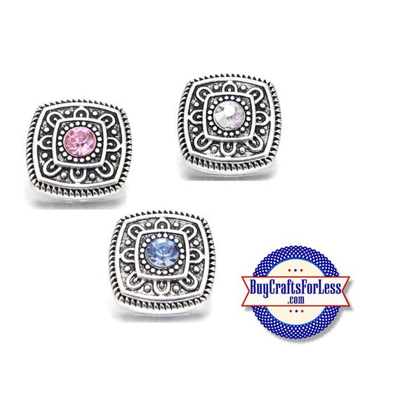 SNAP METAL Changeable Buttons with Rhinestone Center, 3 New Designs, 18mm  +FREE Shipping & Discounts