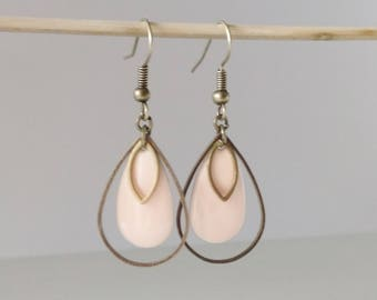 Earrings triple drops two-sided black enamel