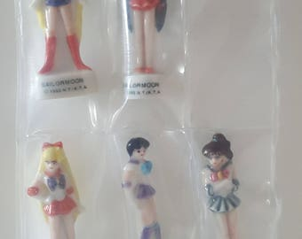 5 Sailor Moon Feve / Charms 1992 Small Doll Figures Sailor Moon , Mercury , Mars , Jupiter & Venus Full Set Extremely Rare