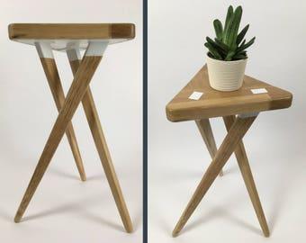 Oak Side Table Oak Bedside Table Three Legged Table Rustic Side Table
