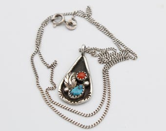 Turquoise and Coral Silver Leaf Necklace