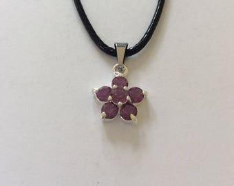Purple rhinestone flower necklace / flower jewellery / rhinestone jewellery / purple jewellery