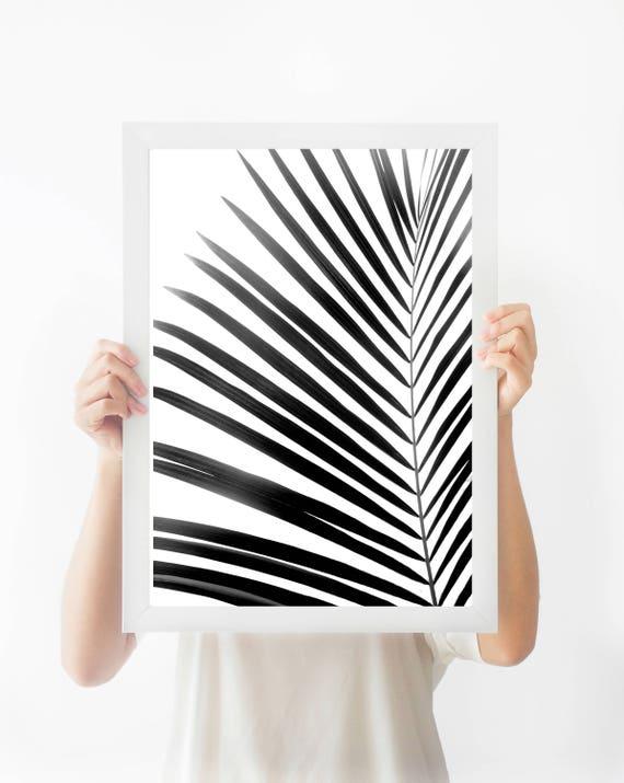 Blanco y negro impresión de hoja de Palma Tropical hoja de