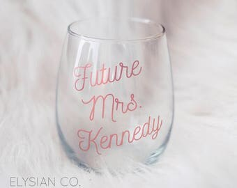 Future Mrs Stemless Wine Glass, Rose Gold, Bachelorette Party, Bridal Shower Gift, Wedding Glass, Engagement Gift, Bridal Party