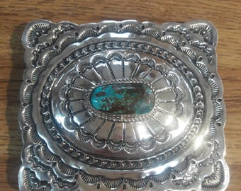 Navajo Handmade Pilot Mountain Turquoise and Sterling silver Belt Buckle